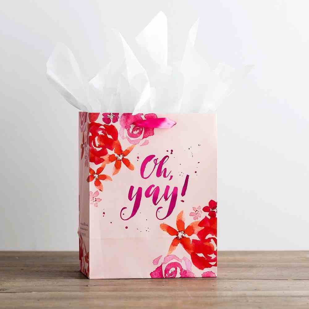 Gift Bag Medium: Oh Yay, Pink Floral (Incl Two Sheets Tissue Paper & Gift Tag) Stationery