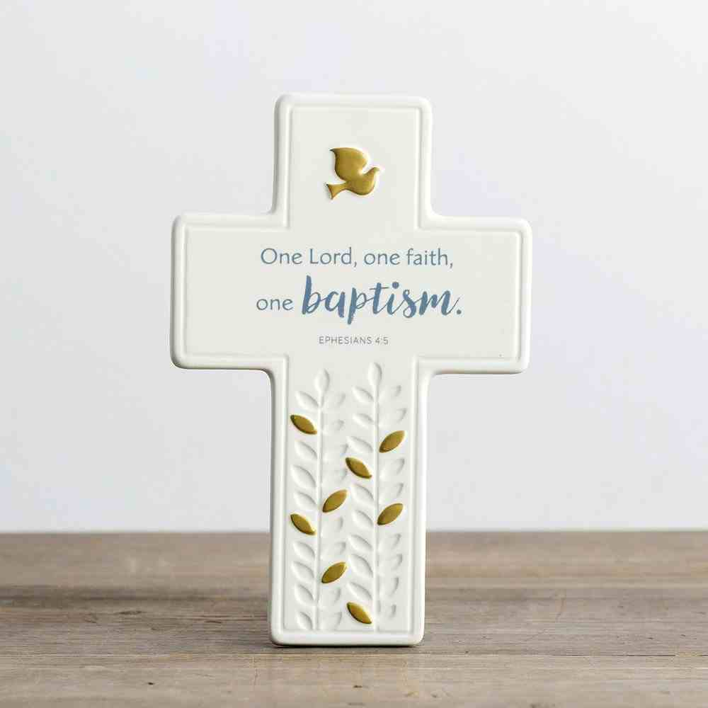 Ceramic Baptism Cross: One Lord, One Faith, on Baptism, Cream/Blue/Gold (Eph 4:5 Nrsv) Homeware