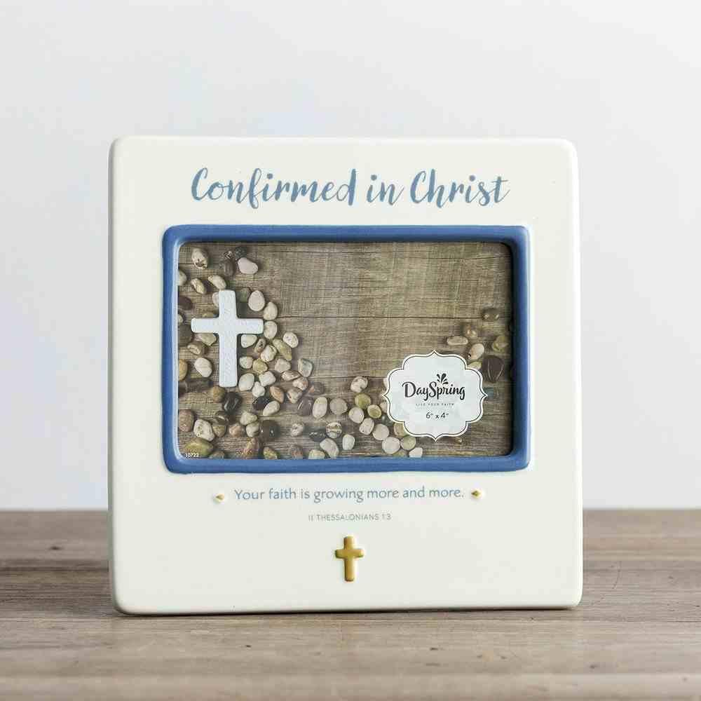 Ceramic Photo Frame: Confirmed in Christ, Cream/Blue (2 Thess 1:3 Ncv) Homeware