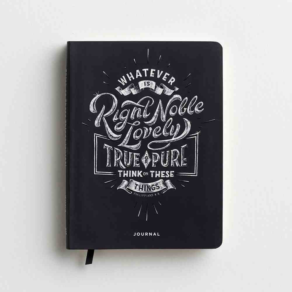 Signature Journal: Think on These Things, Black/White Flexi Back