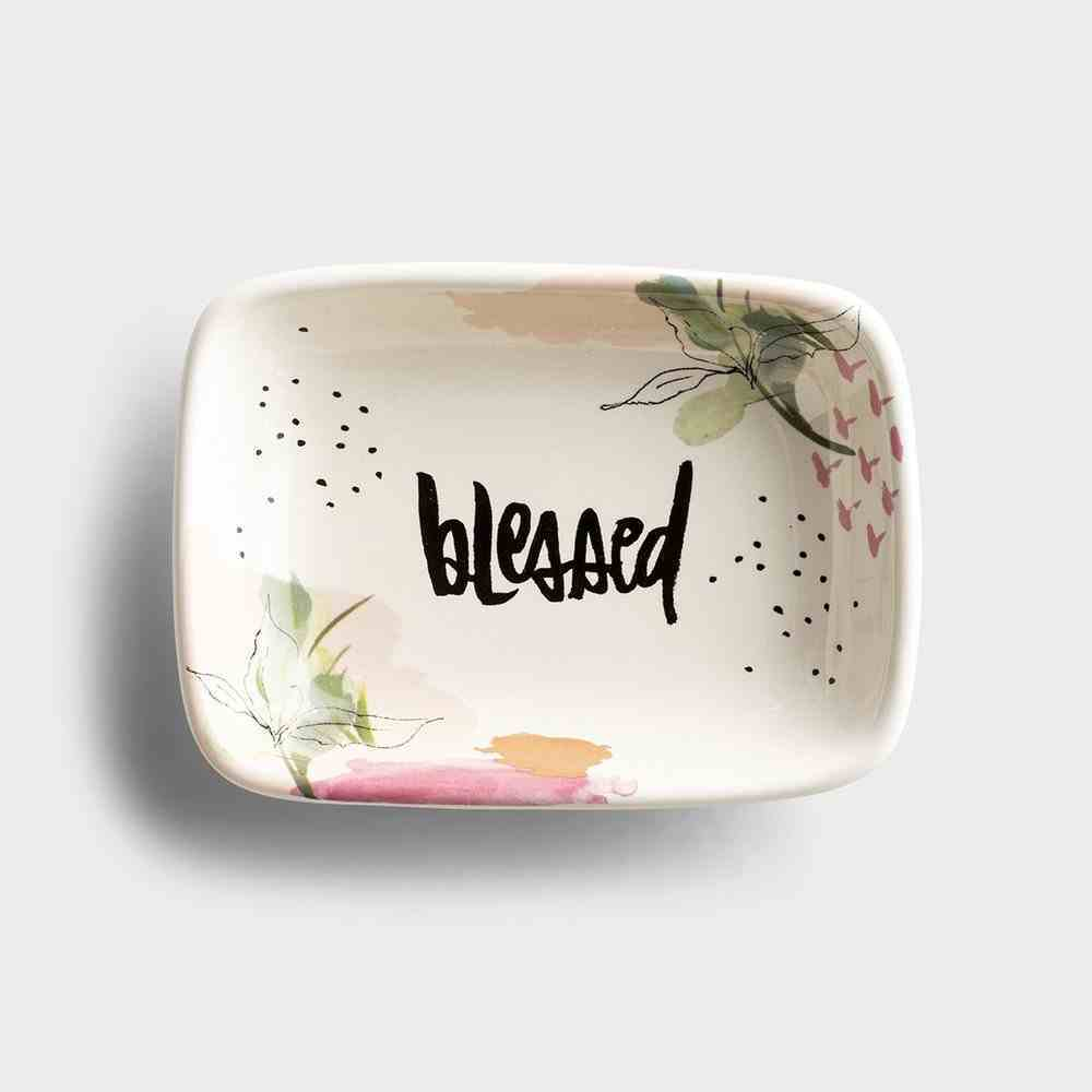 Ceramic Trinket Dish: Blessed, Floral/White Background Homeware