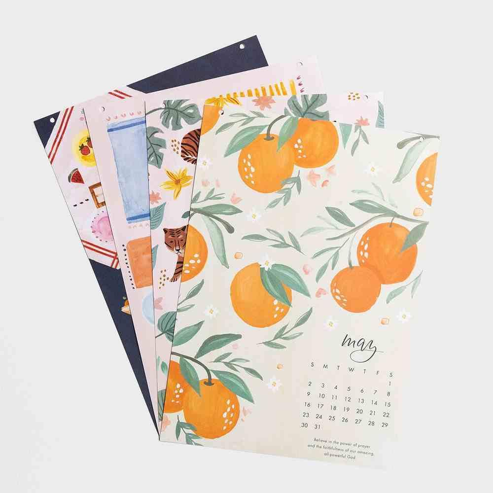 2021 Wood Strip Wall Calendar: Pink and Green Floral Calendar