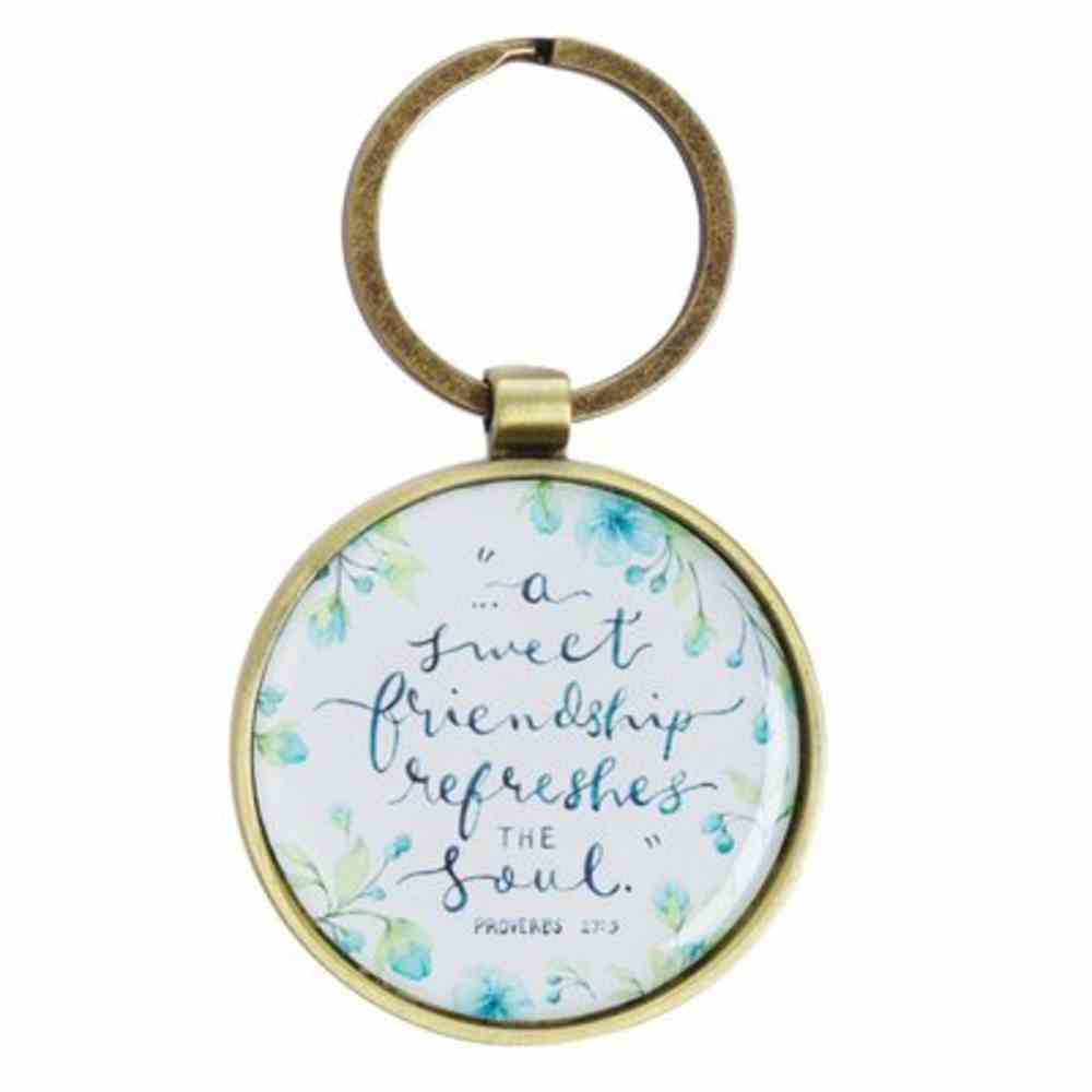 Keyring Blue Flowers (Proverbs 27: 9) (Sweet Friendship Collection) Jewellery