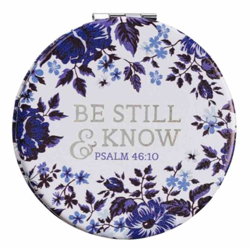 Compact Mirror: Be Still and Know, Blue Floral Faux Leather Cover Homeware