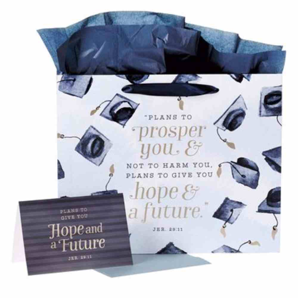 Gift Bag Inludes 1 Sheet of Tissue Paper & Gift Card, White With Navy Graduation Hats (Jer 29: 11) (Graduation Collection) Stationery