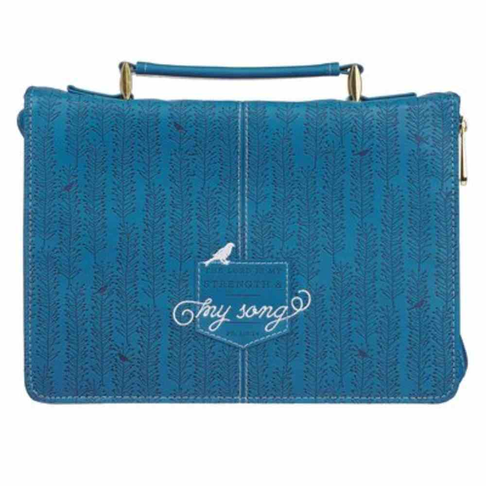 Bible Cover Large: The Lord is My Strenght and My Song, Blue Faux Leather Bible Cover