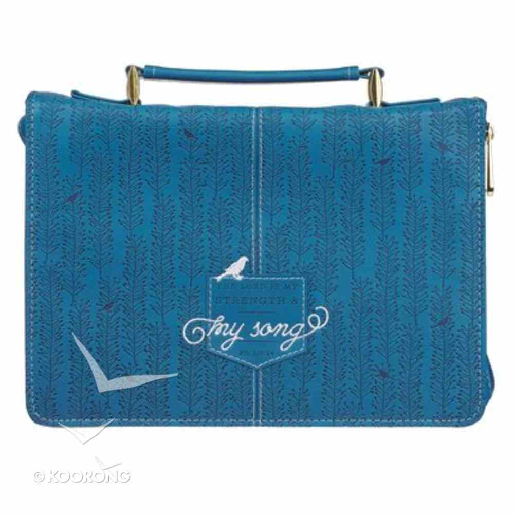 Bible Cover Medium: The Lord is My Strenght and My Song, Blue Faux Leather Bible Cover