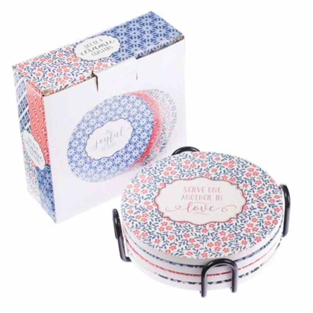 Ceramic Coaster: Blue/Pink Patterns, Includes Wire Holder (Set Of 4) Homeware