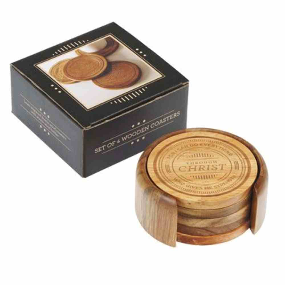 Wood Coaster: Acacia Wood, Includes Holder (Set Of 4) Homeware