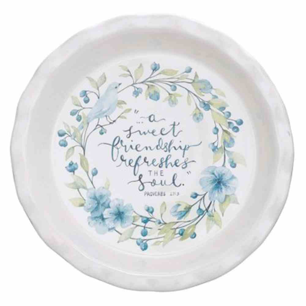 Ceramic Pie Plate Blue Outer, White Inner With Blue Flowers and Bird, Scalloped Edge (Proverbs 27: 9) (Sweet Friendship Collection) Homeware