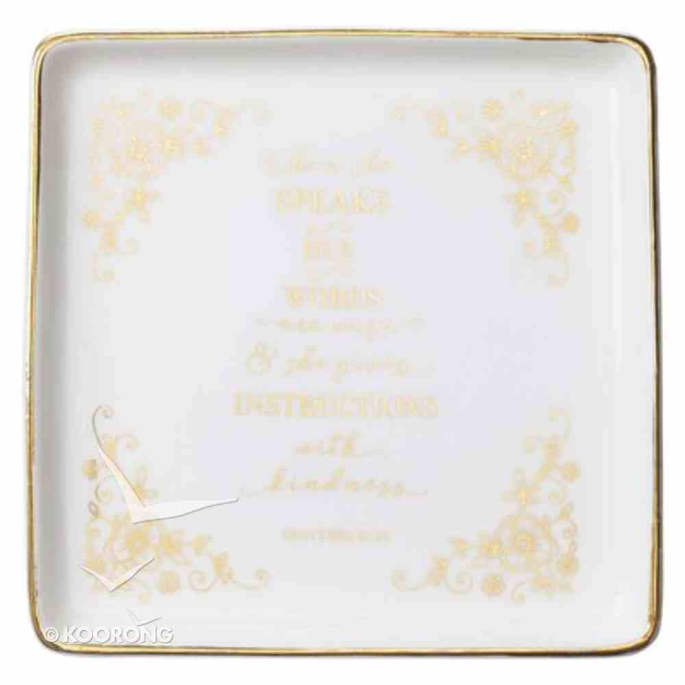 Ceramic Trinket Tray Square, White With Gold Accents (Proverbs 31: 26) (When She Speaks Collection) Homeware