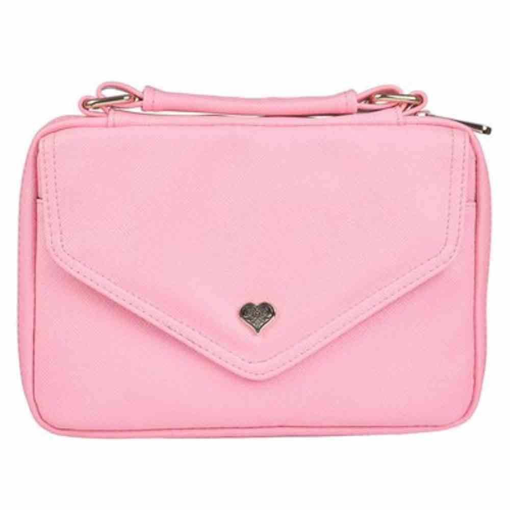 Bible Cover Medium: Pink With Heart Badge, Faux Leather Bible Cover