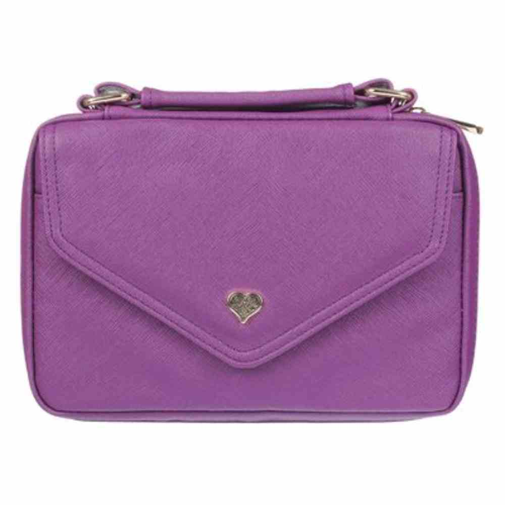 Bible Cover Large: Purple With Heart Badge, Faux Leather Bible Cover