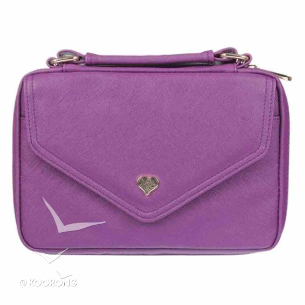 Bible Cover Medium: Purple With Heart Badge, Faux Leather Bible Cover
