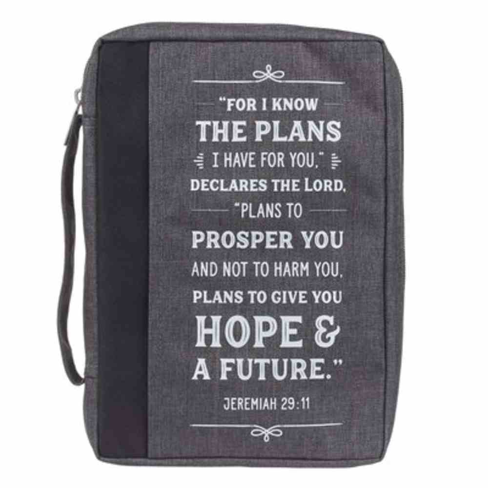 Bible Cover Large: I Know the Plans, Gray Poly-Canvas Bible Cover