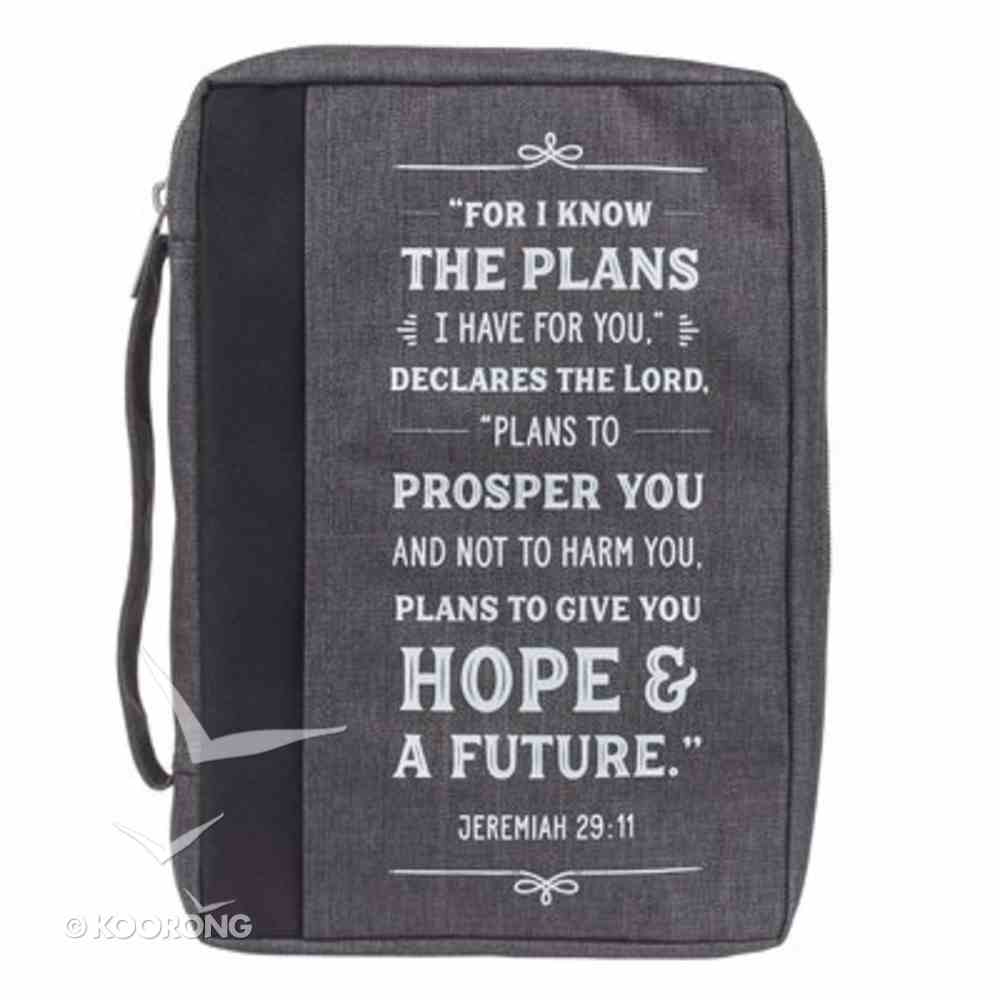 Bible Cover Medium: I Know the Plans, Gray Poly-Canvas Bible Cover
