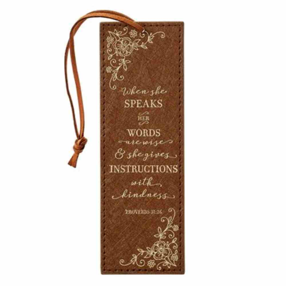 Bookmark With Cord Tan Floral, Foil Accents (Proverbs 31: 26) (When She Speaks Collection) Imitation Leather