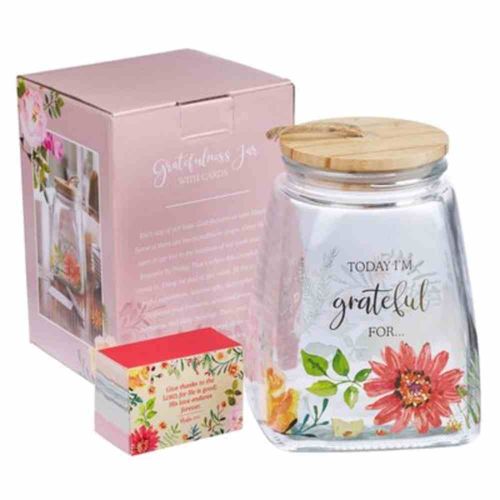 Gratitude Jar With Cards: Glass With Bamboo Lid Homeware
