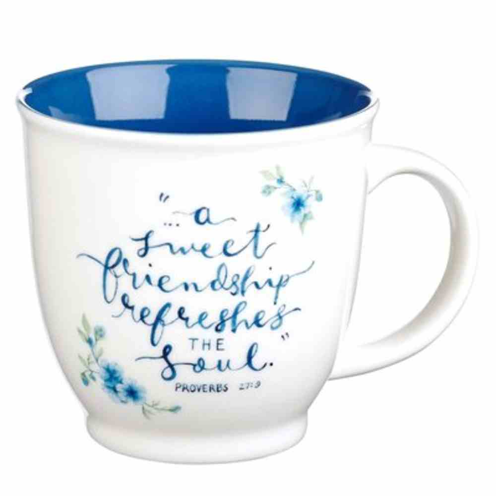 Ceramic Mug White With Blue Inside, Blue Flowers (Proverbs 27: 9) (Sweet Friendship Collection) Homeware