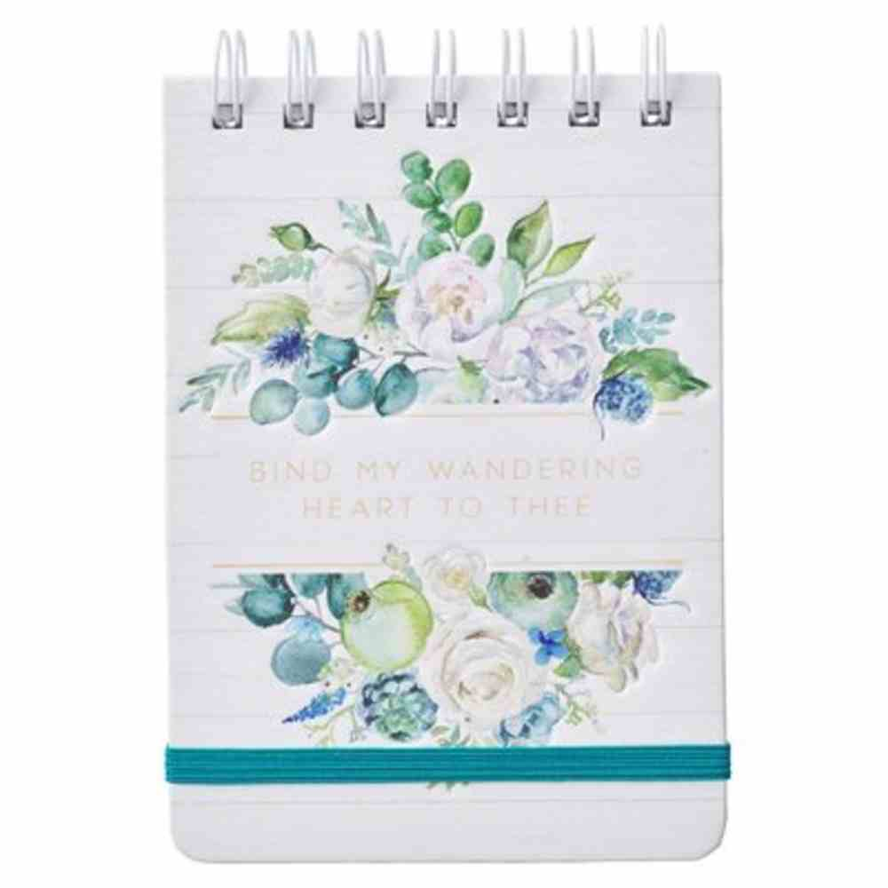 Notepad: My Wandering Heart, White Floral With Teal Elastic Band Spiral