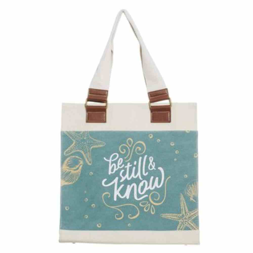 Canvas Tote Bag- Be Still and Know, Blue Sea, Magnetic Closure (Be Still Collection) Soft Goods