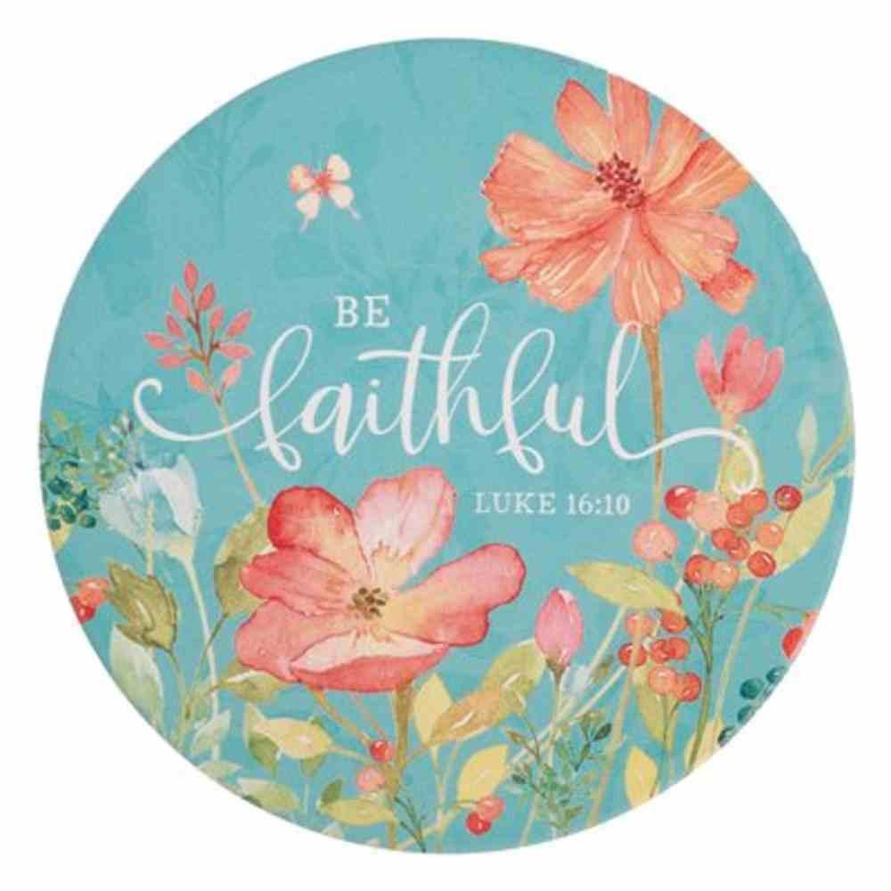 Ceramic Trivet Be Faithful, Light Blue With Flowers (Cork Base) (Grateful Collection) Homeware