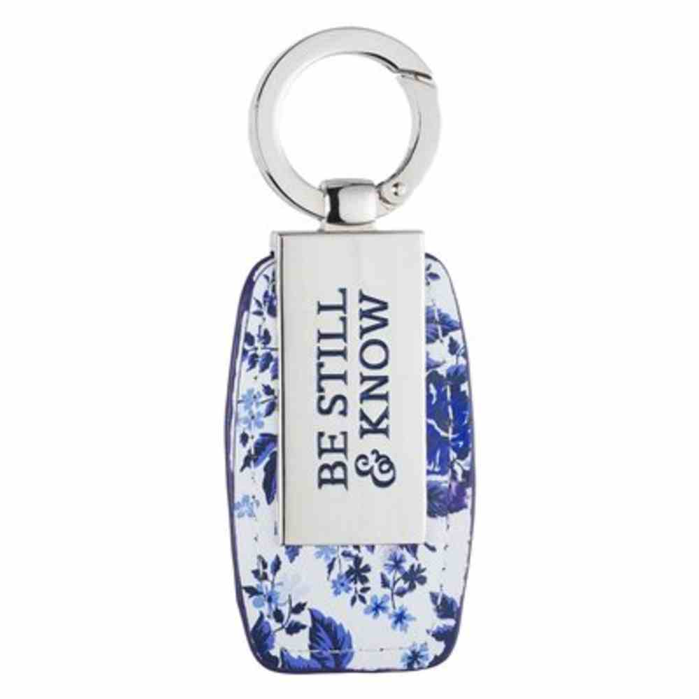 Metal Keyring in Tin: Be Still and Know Blue Foral (Psalm 46:10) Jewellery