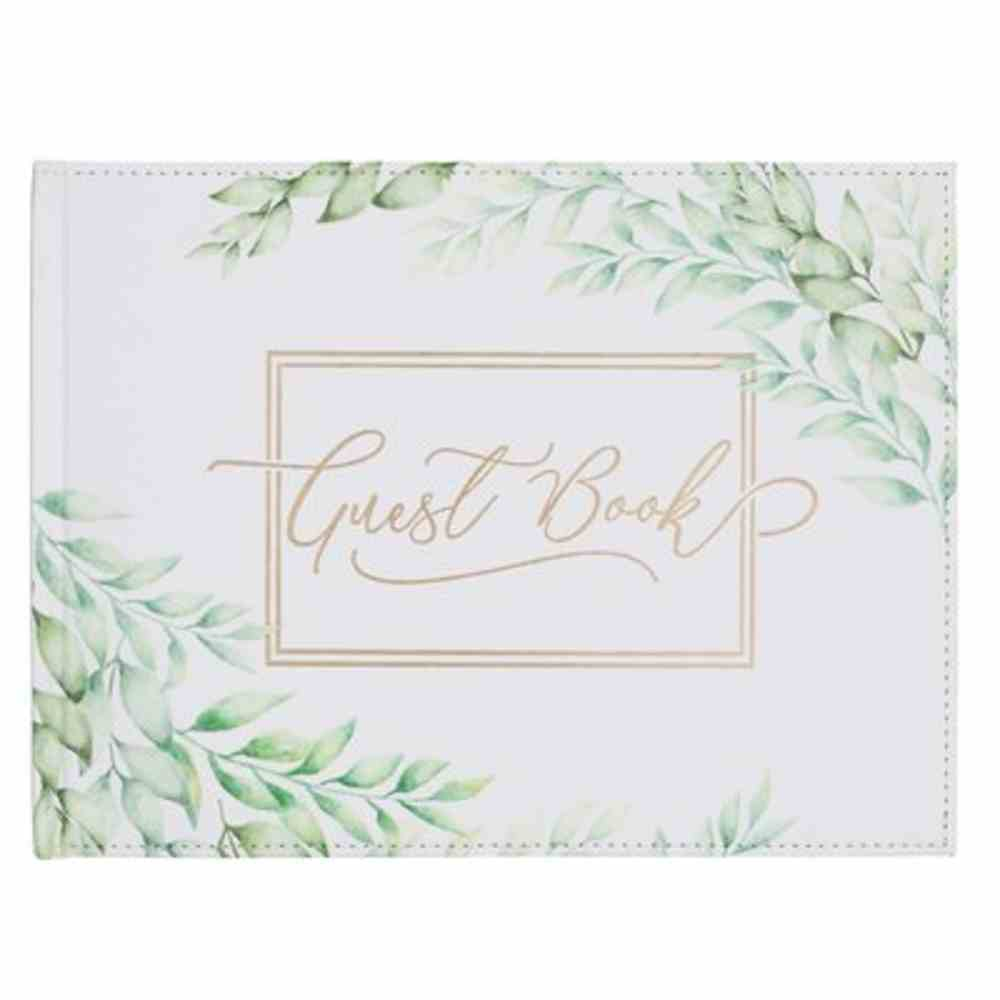 Guest Book: Green Leaves Imitation Leather