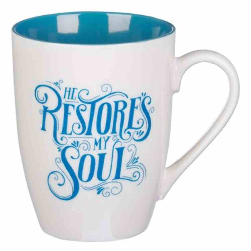 Ceramic Mug: He Restores My Soul, Blue Inside (355ml) Homeware
