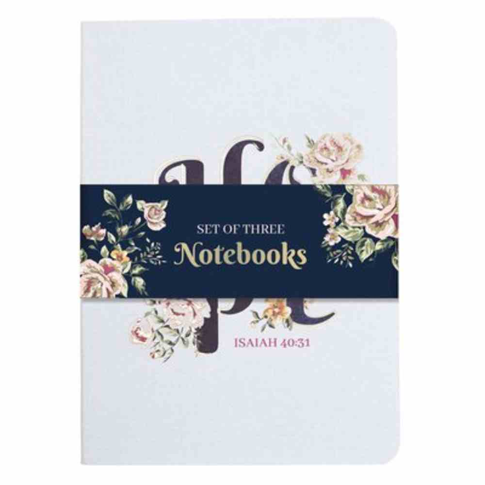 Notebook: Hope, Navy Floral/Pink/White (Set Of 3) Paperback