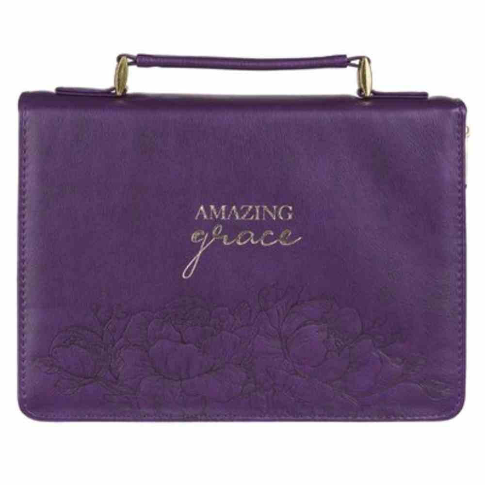 Bible Cover Medium: Amazing Grace, Purple Floral Faux Leather Bible Cover