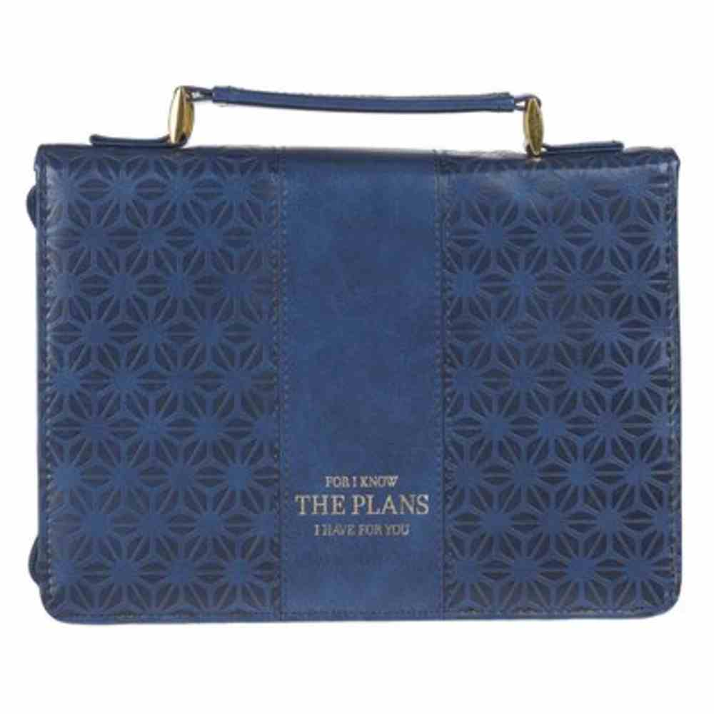 Bible Cover Large: I Know the Plans, Navy Pattern Faux Leather Bible Cover
