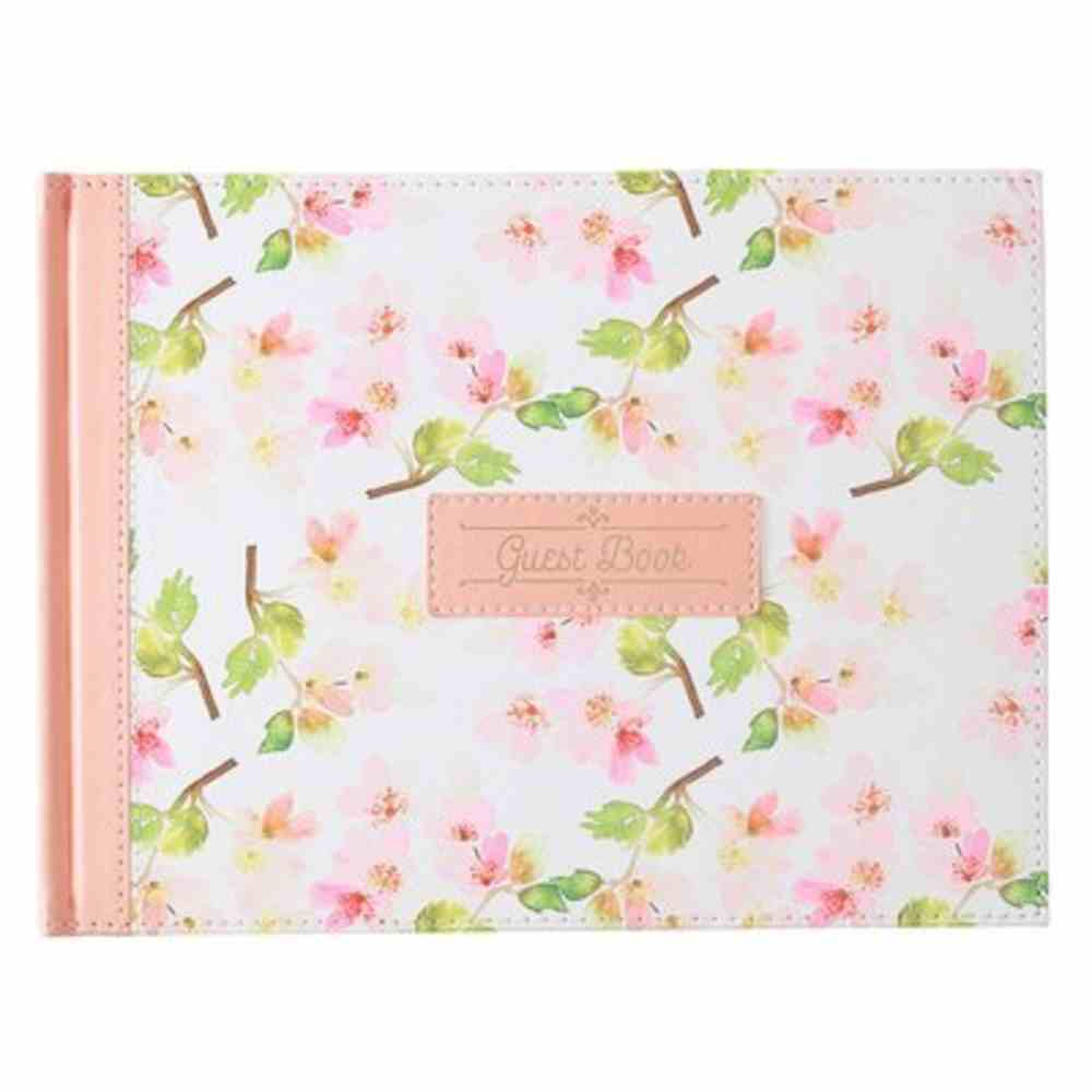 Guest Book: Peach Floral Imitation Leather