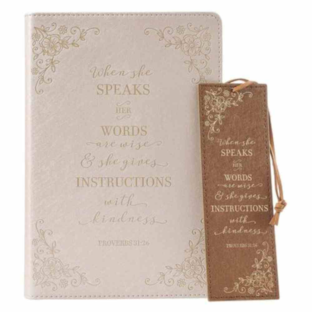Gift Set- Journal and Bookmark, Lined Pages With Scripture, Gilt Edges, Ribbon Marker (When She Speaks Collection) Imitation Leather