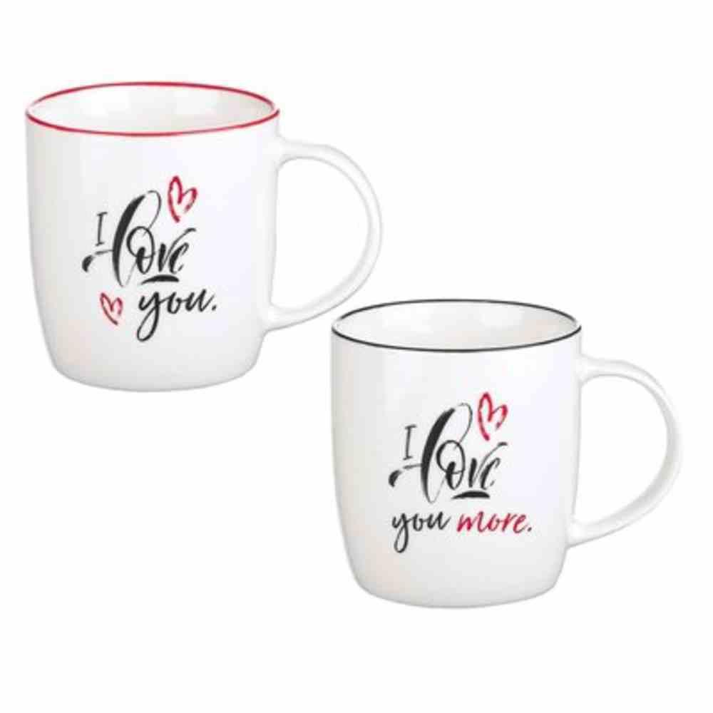 Ceramic Mugs 296ml: I Love You...More (Set Of 2) Homeware