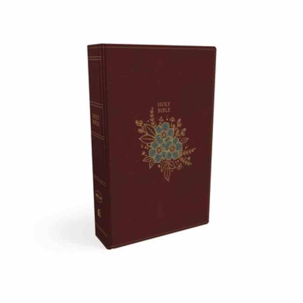 NKJV Thinline Bible Compact Burgundy Floral Design (Red Letter Edition) Premium Imitation Leather
