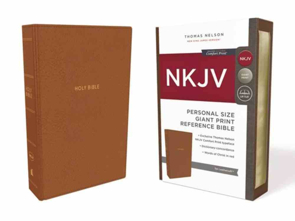 NKJV Reference Bible Personal Size Giant Print Tan (Red Letter Edition) Premium Imitation Leather