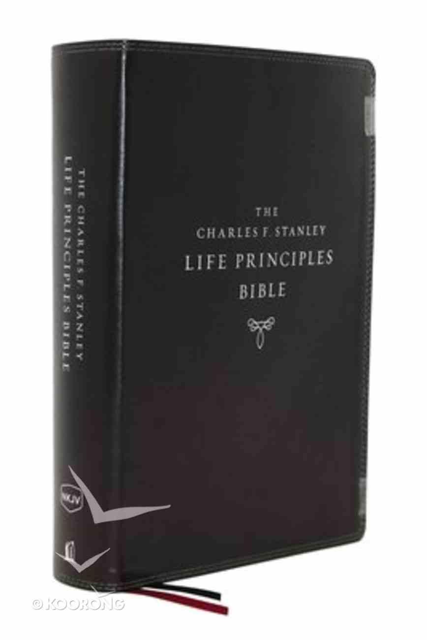 NKJV Charles F. Stanley Life Principles Bible Black Indexed (2nd Edition) Premium Imitation Leather