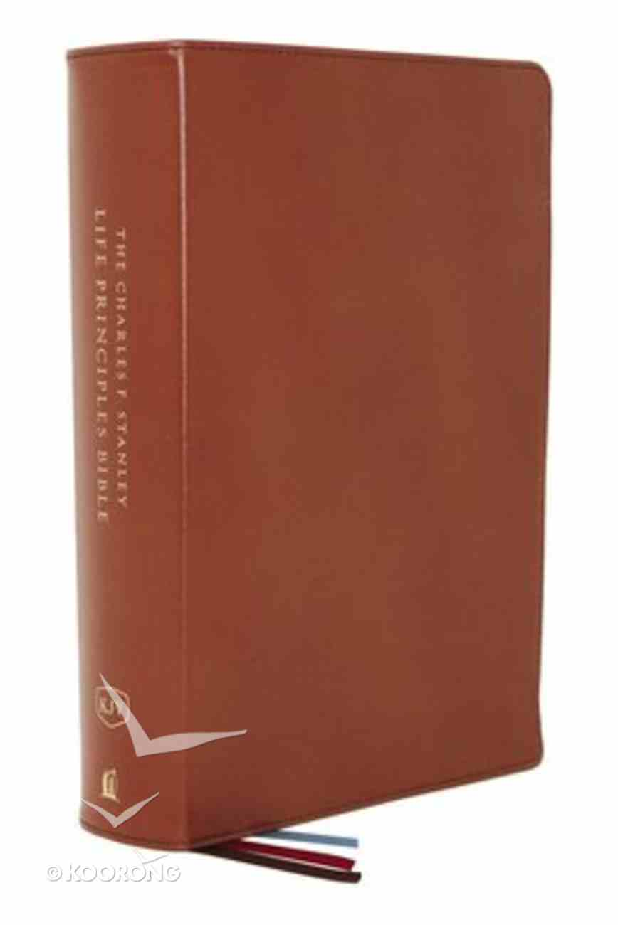 KJV Charles F. Stanley Life Principles Bible Brown Indexed (2nd Edition) Genuine Leather