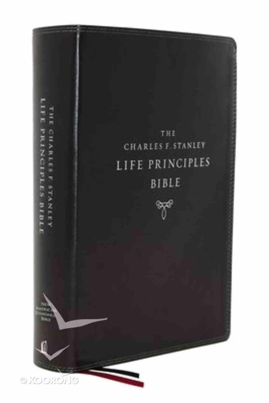 NASB Charles F Stanley Life Principles Bible Black Thumb Index (2nd Edition) Premium Imitation Leather
