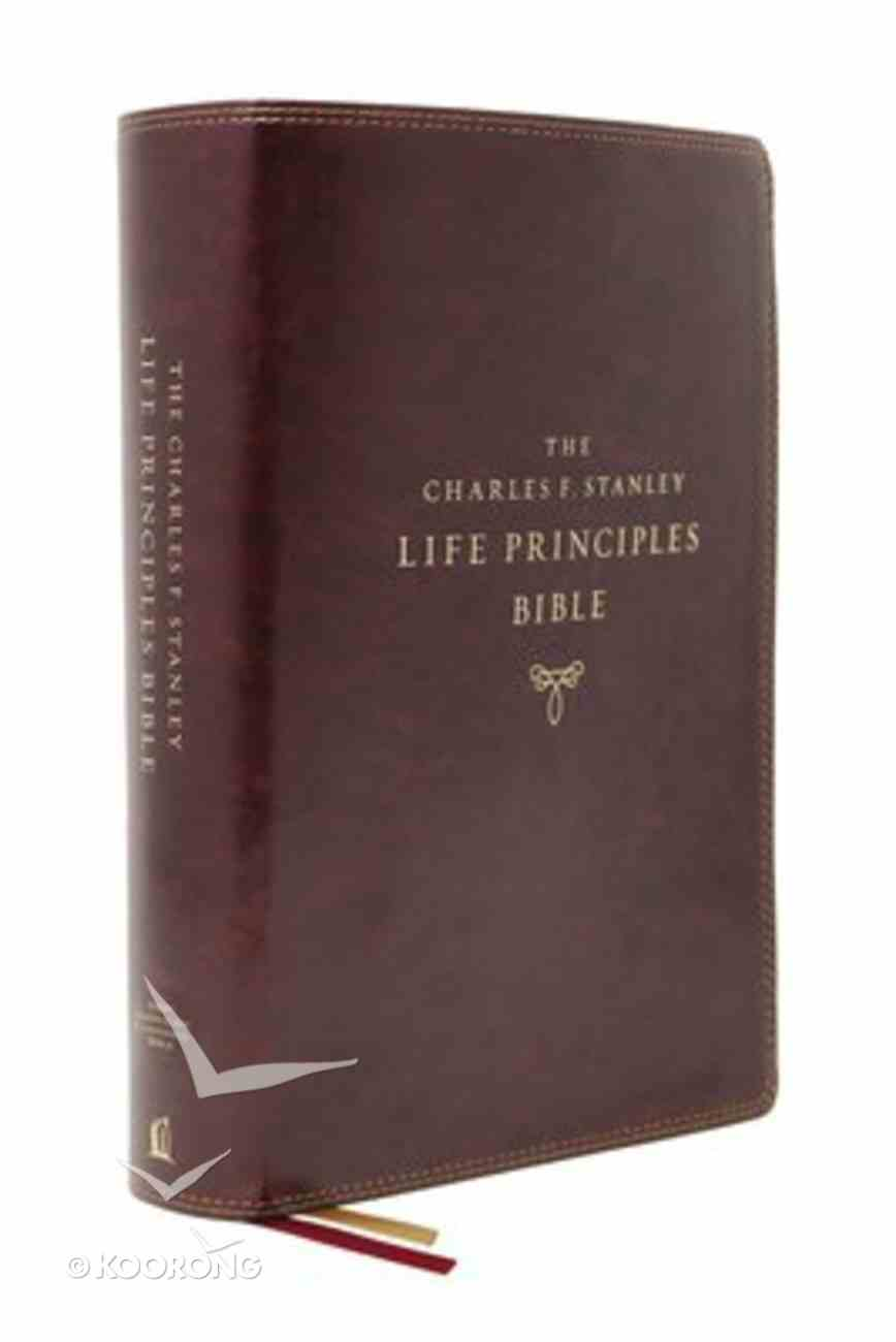 NASB Charles F Stanley Life Principles Bible Burgundy (2nd Edition) Premium Imitation Leather
