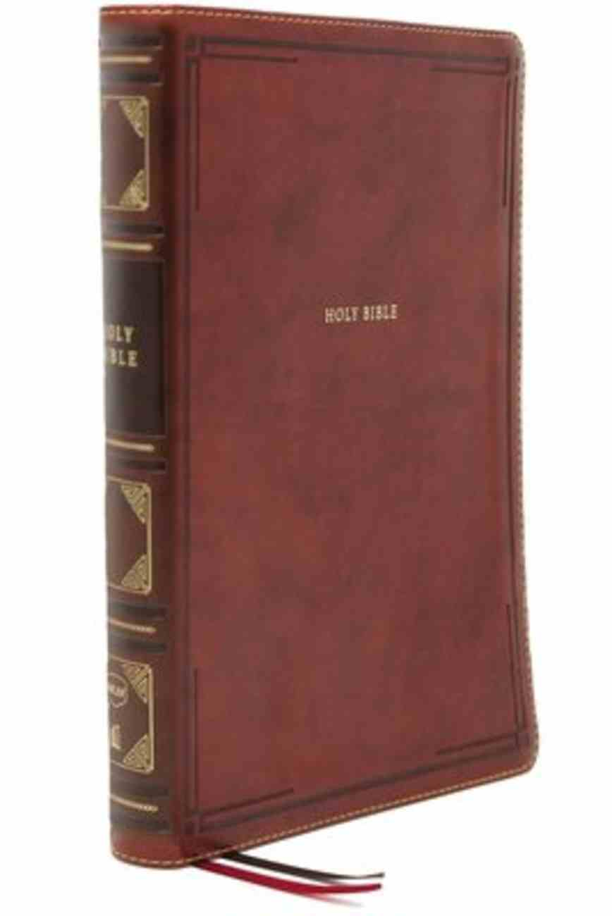 NKJV Thinline Reference Bible Large Print Brown (Red Letter Edition) Premium Imitation Leather