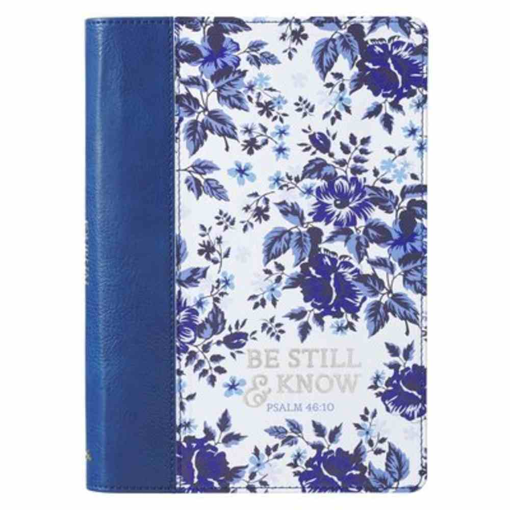 Journal: Be Still and Know, Blue Floral, Slimline Imitation Leather