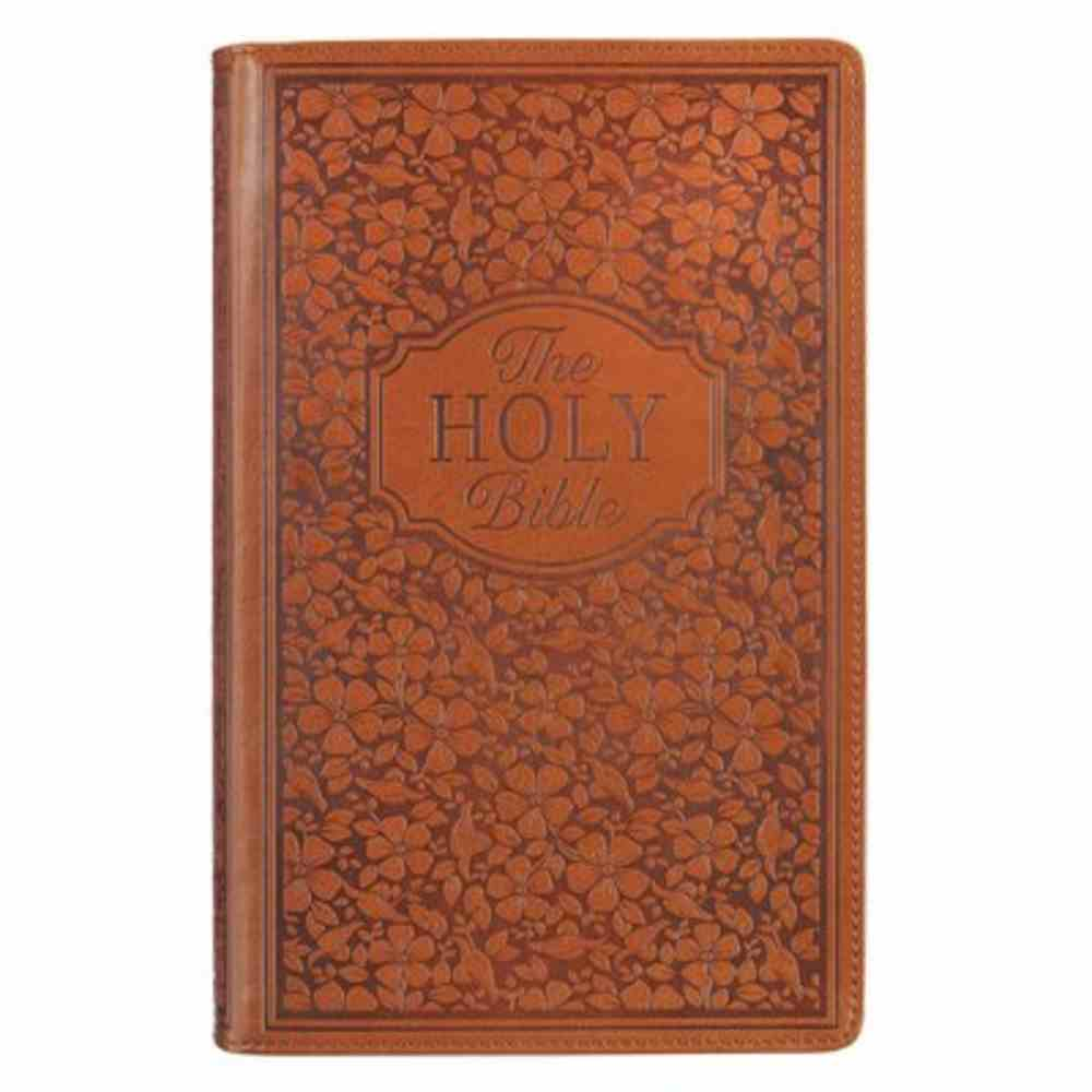 KJV Giant Print Bible Indexed Tan Floral (Red Letter Edition) Imitation Leather