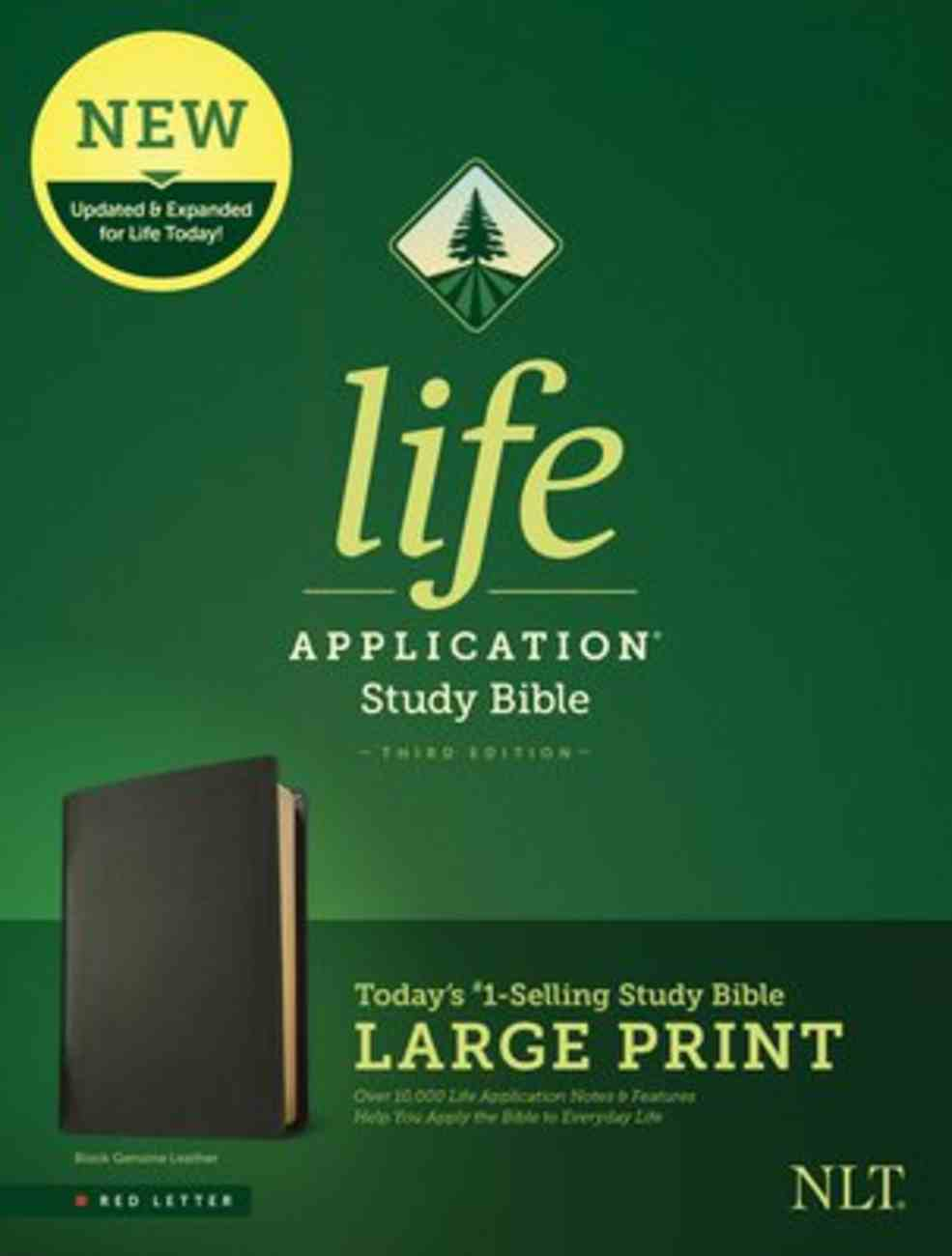 NLT Life Application Study Bible 3rd Edition Large Print Black (Red Letter Edition) Genuine Leather
