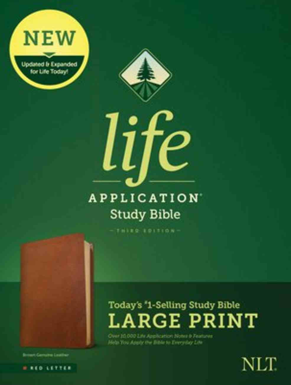 NLT Life Application Study Bible 3rd Edition Large Print Brown (Red Letter Edition) Genuine Leather