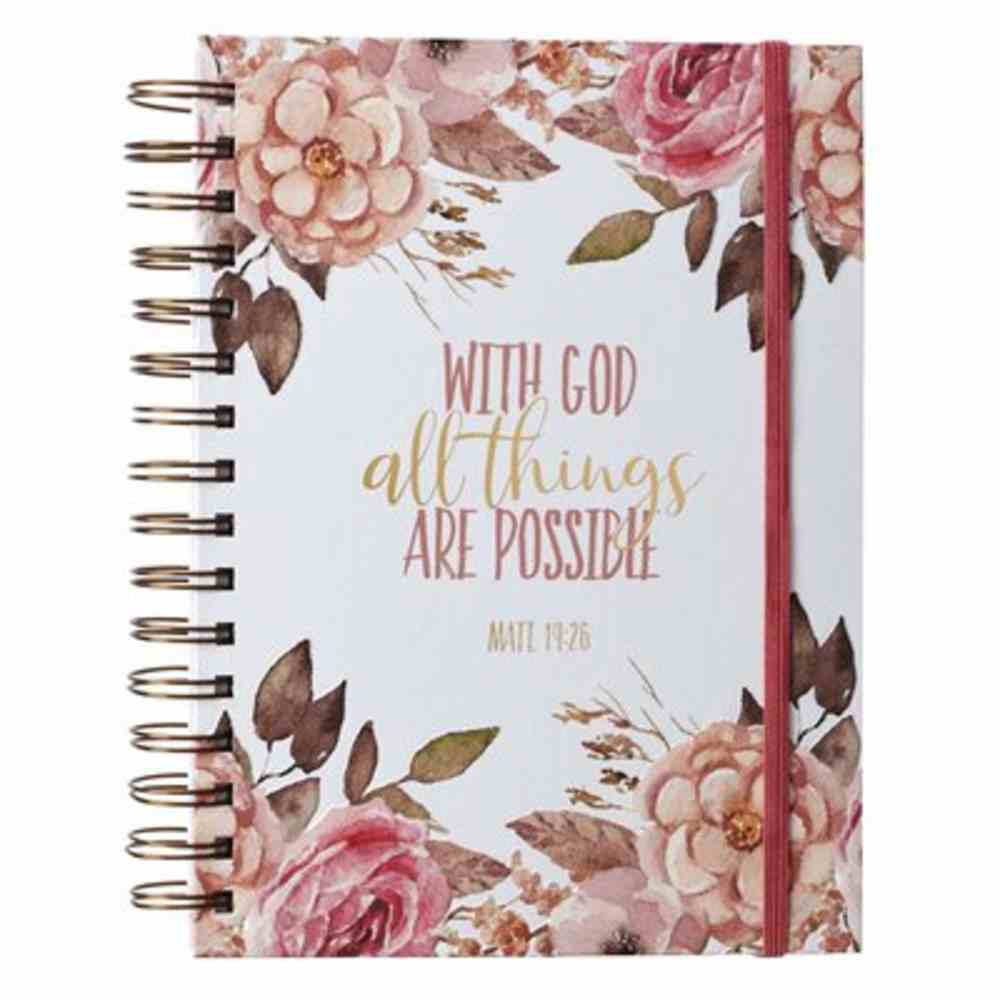 Journal: All Things, With Elastic Band, Floral Spiral