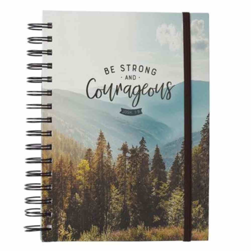 Journal: Courageous, Mountain and Tree Landscape, With Elastic Band Spiral