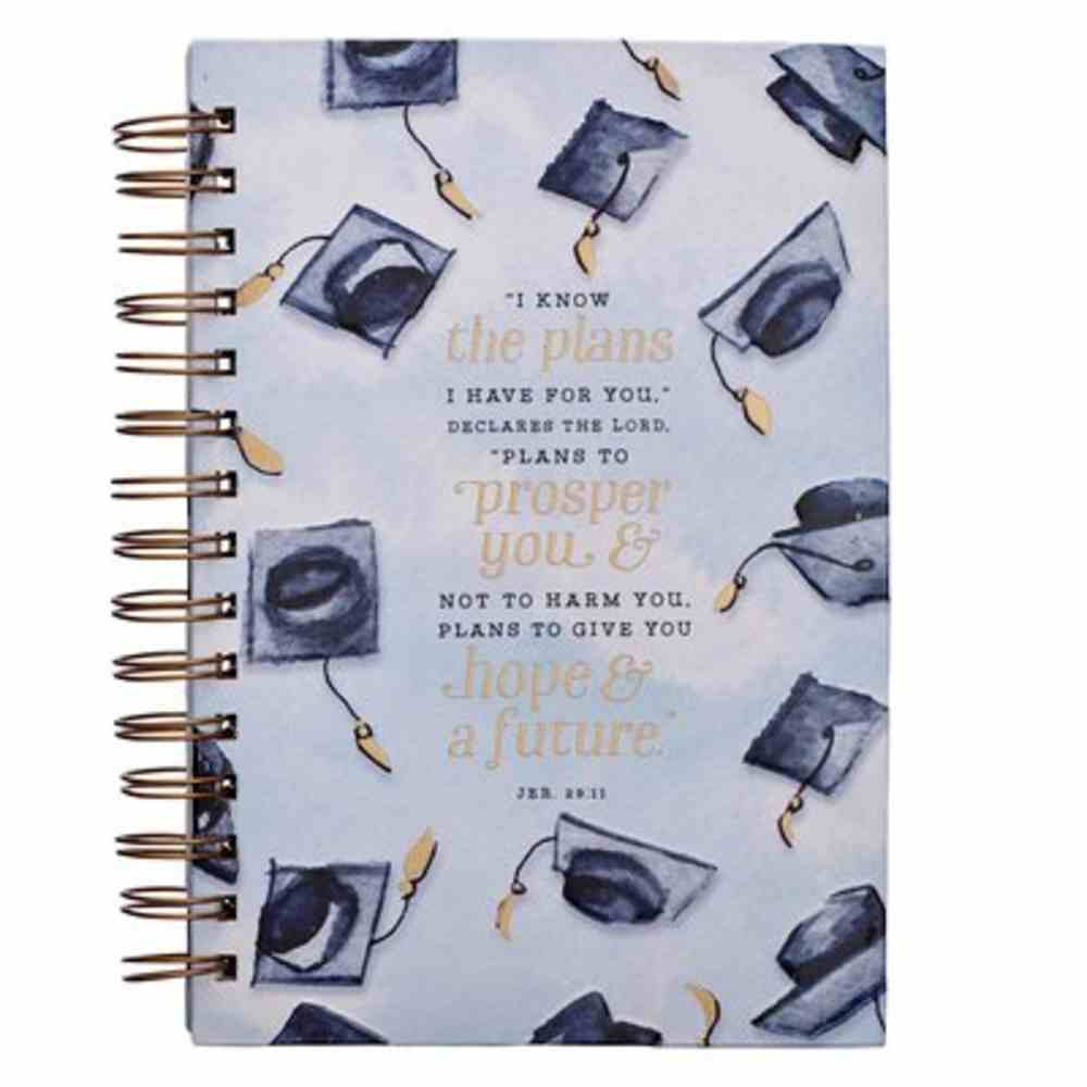 Journal White With Navy Graduation Hats (Jer 29: 11) (Graduation Collection) Spiral