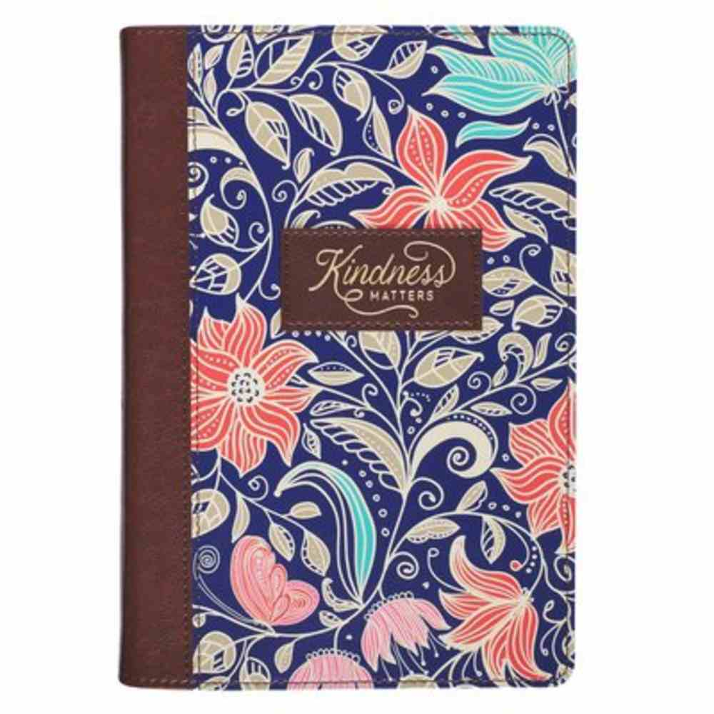 Classic Journal- Kindness Matters, Brown and Navy Floral With Ribbon Marker (Kindness Matters Collection) Imitation Leather